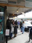 People waiting to get into the original Starbucks